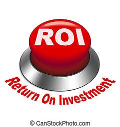 roi, investment), bouton, illustration, (return, 3d