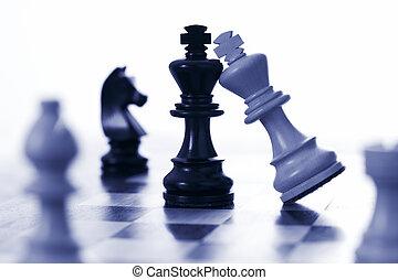 roi, noir, échecs, attaques, blanc