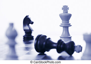 roi, noir, jeu, échecs, battre, blanc