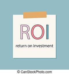 roi, retour, cahier, écrit, papier, investissement