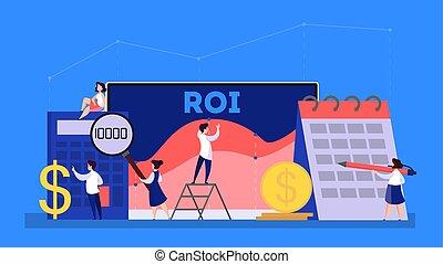 roi, retour, finance, concept., idée, investissement, ou