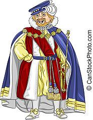 roi, sourires, conte fées, rigolote, vecteur, dessin animé