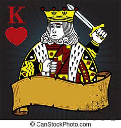 roi, style, tatouage, illustration, cœurs, bannière