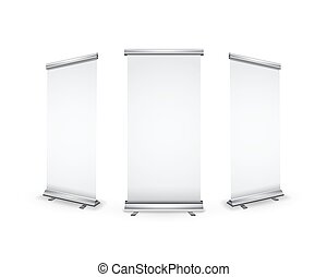 roll-up, ombre, trois, réaliste, vide, bannières, blanc