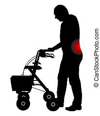 rollator, homme, douleur dorsale