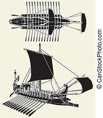 romain, ancien, bateau