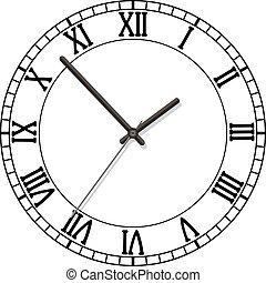 romain, cadran, nombres, horloge