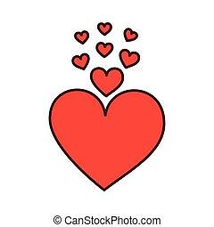 romance, coeur, décoration, passion, amour
