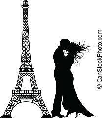 romance, paris, vecteur, silhouette