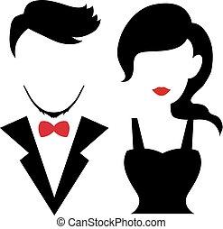 romance, silhouettes, mariage, valentin, couple