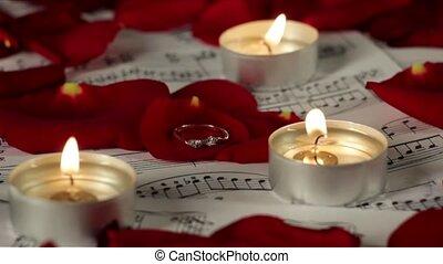 romantique, mariage, atmosphère, anneau