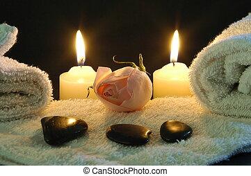 romantique, nuit, spa