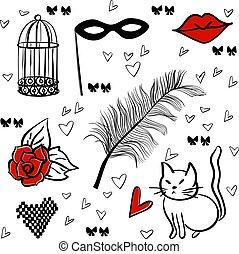 romantique, seamless, vecteur, éléments