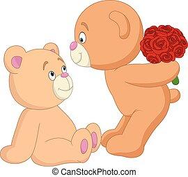 romantique, teddy, couple, valentine, ours, jour