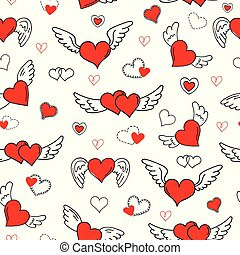 romantique, valentine, pattern., seamless, cœurs, jour