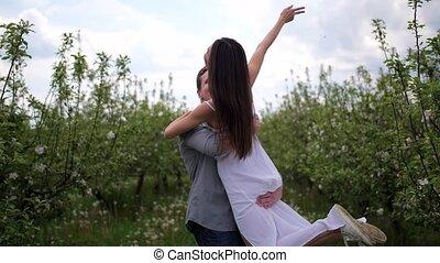 romantique, verger, dépenser, couple, jeune, loisir