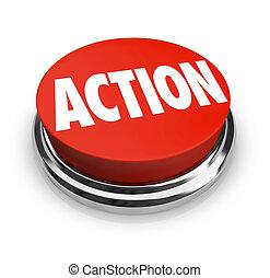 rond, être, action, mot, rouges, proactive, bouton