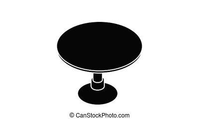 rond, animation, table, icône