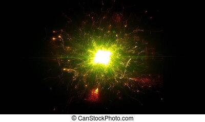 rond, espace clair, structure, futuriste, énergie, particules, or