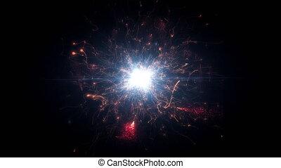 rond, espace clair, structure, futuriste, énergie, particules, rouges