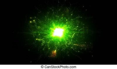 rond, espace clair, structure, futuriste, vert, énergie, particules
