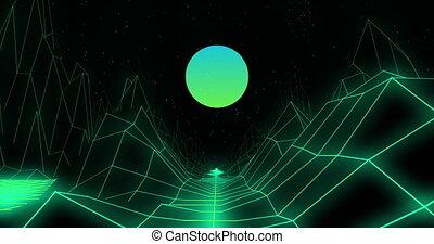 rond, forme, 3d, noir, montagnes, contre, grille, lignes, vert, sur, fond