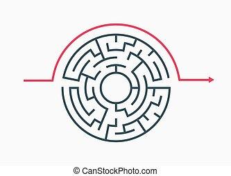 rond, labyrinthe, circulaire, labyrinthe, labyrunth, solution., vecteur, cercle, complexe, puzzle, game., modèle