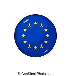rond, lustré, bouton, illustration., drapeau européen, vecteur, écusson, icône, union.