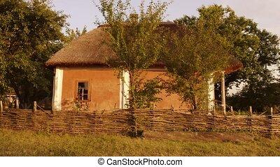 roof., argile, hutte, paille