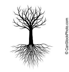 roots., vecteur, illustration., arbre, forme, garden., plante, contour
