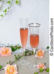 rosè, deux, verres vin, vin