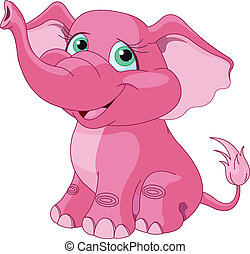 rose, éléphant