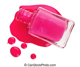 rose, émail, goutte, isolé, clou, bouteille, échantillons, polonais, blanc