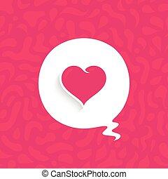 rose, affiche, coeur