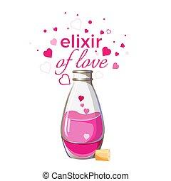 rose, amour, liquide, isolé, bouteille, élixir, cœurs