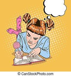 rose, art, chaussettes, écriture, pop, vecteur, illustration, girl, diary.