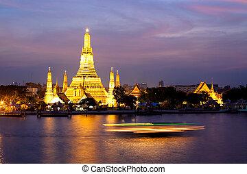 rose, bangkok, coucher soleil, thaïlande, arun, crépuscule, wat