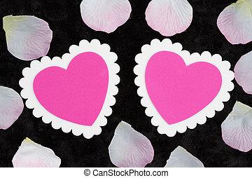 rose, blanc, tissu, vide, rose, peluche, cœurs, deux, textured, noir