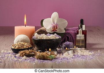 rose, bois, lumière, traitement, fond, table, spa, composition