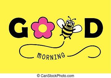 rose, bon, typographie, salutation, miel, fleur, carte, matin, abeille