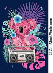 rose, boombox, koala