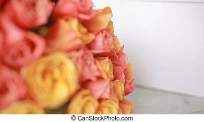 rose, bouquet, juteux, orange, gros plan, coloré, roses