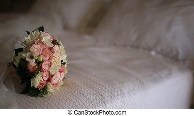 rose, bouquet, mariage, lit, roses