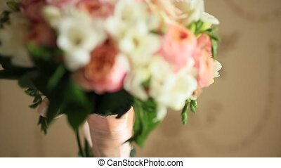 rose, bouquet, mariage, table., roses