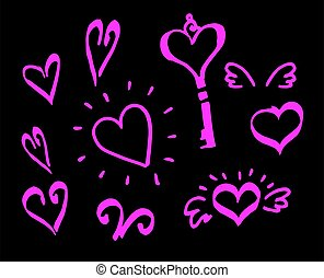 rose, cœurs, fond, jour, logo., clés, isolé, ensemble, noir, contour, salutation, ailes, card., éléments, hand-drawn, clair, valentine, dessin, tourbillons, emblème, ou, griffonnage