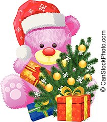 rose, cadeau, noël, ours, teddy