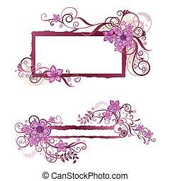 rose, &, cadre, conception, bannière florale