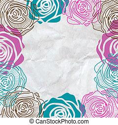 rose, cadre, invitation