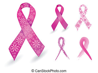 rose, cancer, poitrine, ruban