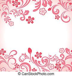 rose, cerise, cadre, seamless, fleur